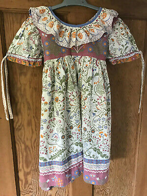Vintage Clothkits Girls Dress 1980s - Very Pretty (a Few Pale Stains - See Pics) • 30£
