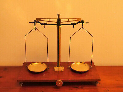 Antique Brass Laboratory Scales On A Wooden Base • 40£