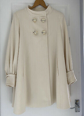 M & S Limited Collection Cream Wool Coat Size 12 Lovely Condition • 15£