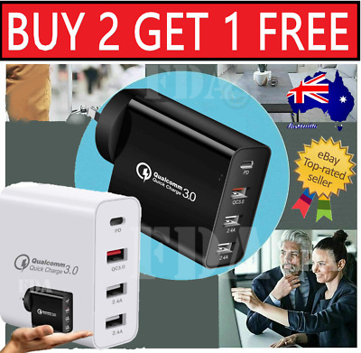 AU21.99 • Buy 48W 4 Port USB FAST Charge Qualcomm Charger 3.0 USB C 30W Wall Power Adapter