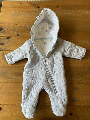 John Lewis Light Grey Baby All In One Suit, 0-3 Months. Worn Only Twice. • 10£