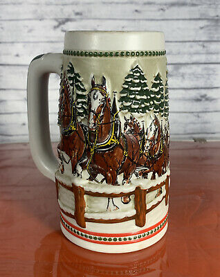 $ CDN22.68 • Buy 1984  Anheuser Busch  AB  Budweiser Bud Holiday Christmas Beer Stein Clydesdales
