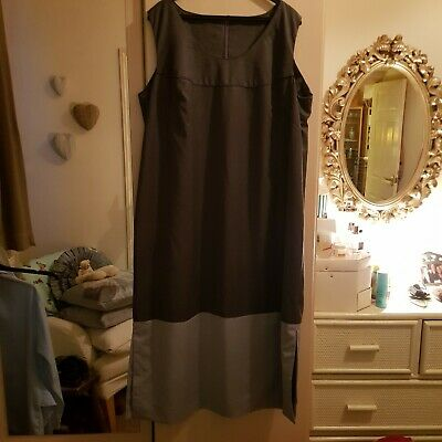 Two Tone Grey Long Dress With Lining Size 18 • 9£