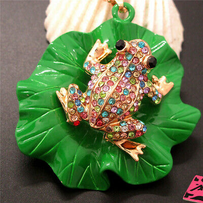 $ CDN1.26 • Buy New Betsey Johnson Multicolor Crystal Cute Frog Lotus Leaf Necklace Chain