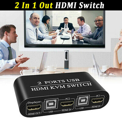 AU33.57 • Buy 2 In 1 Out Plug And Play Dual USB HDMI KVM Switch Aluminum Alloy