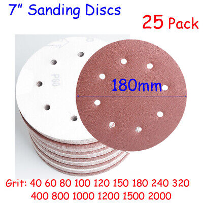 AU16.49 • Buy 180 Mm Sanding Discs 7 Inch Pads Sandpaper Hook Loop 8 Hole 40 - 2000 Grit 25X