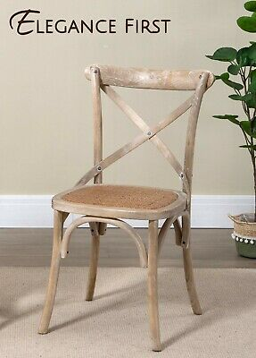 AU209 • Buy Commercial Grade Set Of 2 Cross Back Dining Chairs Wash White Rattan Seat
