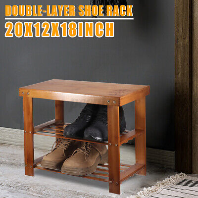 AU29.99 • Buy Shoe Bench Storage Stool Shelf Wooden Shoes Rack Bamboo Stand Chair Organiser