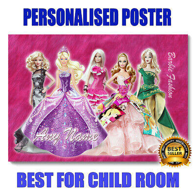 £9.99 • Buy Personalised Barbie Fashion Poster A3 Size -Add Any Name-Best Gift