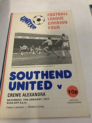 1976/77 Southend United V Crewe Alexandra League 15/1/77 • 2.99£