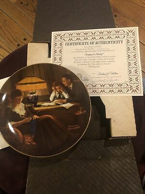 $ CDN5 • Buy Norman Rockwell   Fathers Help  Collector's Plate - Edwin M Knowles Company