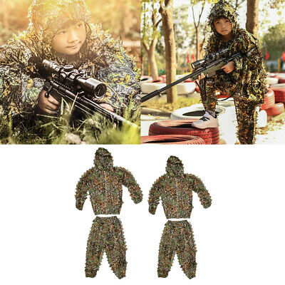 AU23.22 • Buy 3D Leaf Camo Ghillie Suit Hunting Training Sniper Tactical Camouflage Clothes