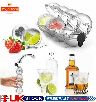 4 HoleIs Ice Cube Tray Ball Maker Mold Sphere Round Whiskey Mould Tool DIY HOT • 7.94£