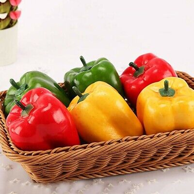 3x Artificial Chili Peppers Fake Vegetables Children Teaching Kitchen Decor~UK • 5.38£
