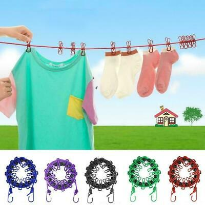 Elasticity Clothesline Rope With Windproof 12 Clips Retractable Camping L6C0 • 4.12£
