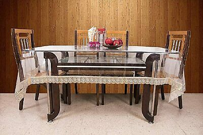 AU34.84 • Buy PVC 6 Seater Transparent Dining Table Cover - Gold
