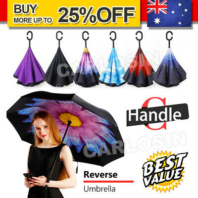 AU19.85 • Buy Windproof Upside Down Reverse Umbrella Double Layer Inside-Out Inverted C-Handle