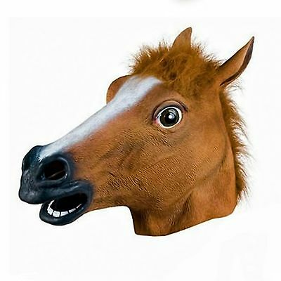 £8.97 • Buy Rubber Horse Head Mask Latex Fancy Dress Party Animal Masks Panto Stag