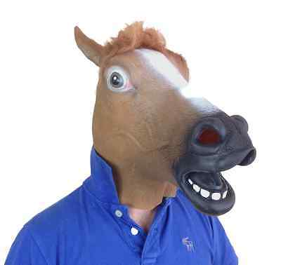 £8.97 • Buy Brown Horse Head Mask Full Head Latex Fancy Dress Stag Party Animal Accessory