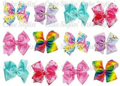 AU5.95 • Buy 12 X JOJO SIWA BOWS Edible Cupcake Toppers Rice Wafer Paper CAKE DECORATIONS