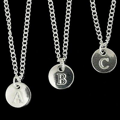 £2 • Buy Disc Silver Plated Initial Letter Alphabet A-Z  Adjustable Necklace 16-30