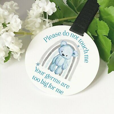 Blue Teddy Bear Rainbow Do Not Touch The Baby Germs Pram Tag Car Seat Sign • 6.49£