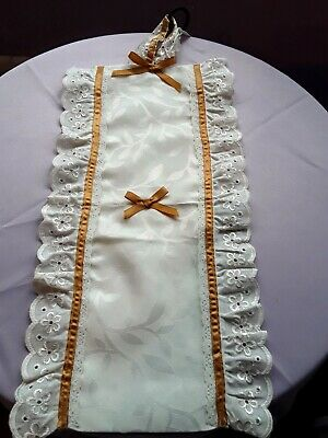 Fabric & Lace TOILET ROLL HOLDER Cream With Broderie Anglaise & Mustard Ribbon  • 4.99£