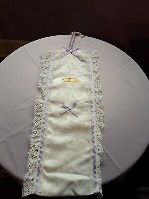Fabric & Lace TOILET ROLL HOLDER Cream With Lilac Ribbon BRAND NEW • 4.99£
