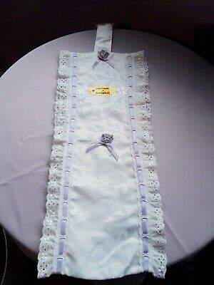 Fabric/LaceTOILET ROLL HOLDER White With Broderie Anglaise & Lilac Ribbon/roses  • 4.99£