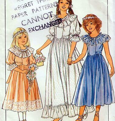 Vintage 80s GIRLS BRIDESMAID & PARTY DRESS Sewing Pattern MULTI SIZE 8 10 12 • 6.99£
