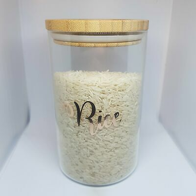1 Litre Glass Storage Jar With Bamboo Lid,airtight, Personalised With Wording Of • 8.99£