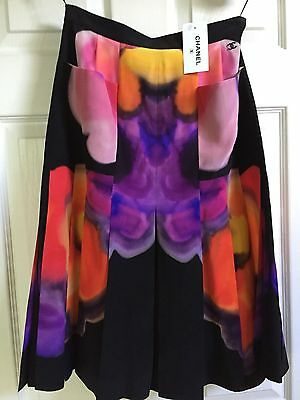 £1061.28 • Buy Chanel 15P NEW TAGS Black Pink Purple Multicolor Pleated Skirt FR36- FR34 $4.6K