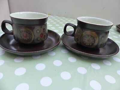 £8.50 • Buy DENBY ARABESQUE BROWN CHINA TEA CUPS AND SAUCERS X 2