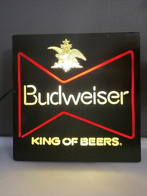 $ CDN101 • Buy Vintage BUDWEISER King Of Beers Lighted Beer Sign Neon Look Working 18x18 1981