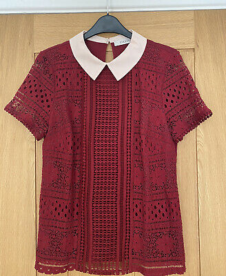 Oasis Lace Top With Collar In Burgundy Red - Size Medium • 7£