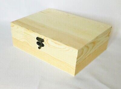 Large Plain Natural Wooden Boxes With Insert Storage Art & Crafts Jewellery Box • 9.99£