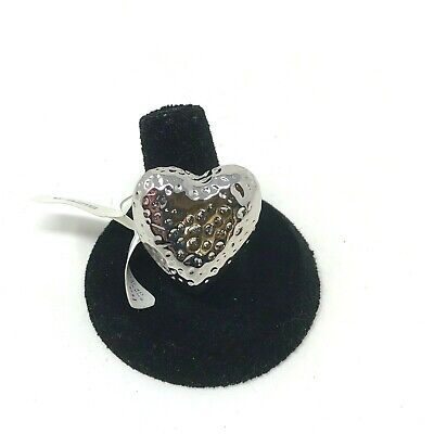 $ CDN15.78 • Buy Lia Sophia Silver Tone Ring Textured Large Heart Size 9 NIB