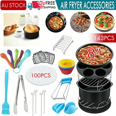 AU27.59 • Buy 143PCS Air Fryer Accessories 8   Frying Cage Dish Baking Pan Rack Pizza Tray Pot