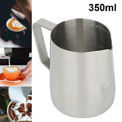 £6.69 • Buy Milk Jug 350ml Stainless Steel Milk Cup Frothing Pitcher For Making Latte Coffee