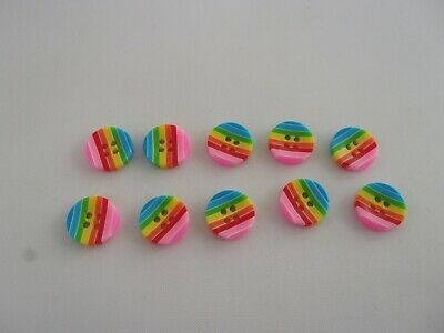 $2.69 • Buy 10 X Multicoloured Rainbow Striped Resin Buttons Craft Baby Size 12mm P31