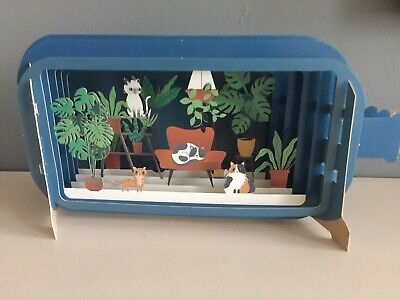 Message In A Bottle 3d Laser Cut Pop Up Greeting Card. Cats Relaxing At Home • 4.85£