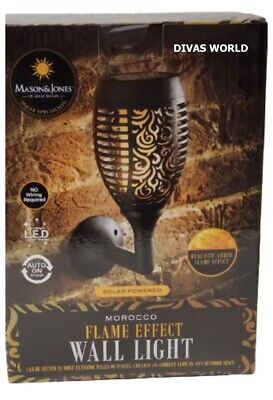 MOROCCO Flame Effect Wall Light Solar Led Flameless Door Candle Brand New • 18.95£