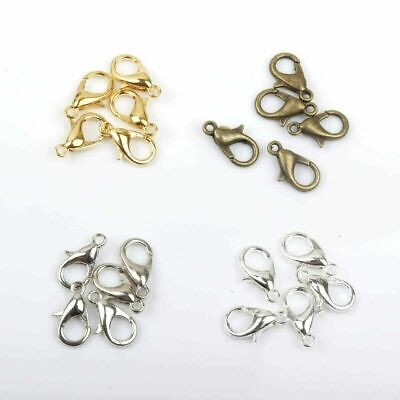 £4.19 • Buy S ALE! 100 PCS 12mm / 10mm SILVER / Gold PLATED LOBSTER CLASP CLAW CLIP FINDINGS