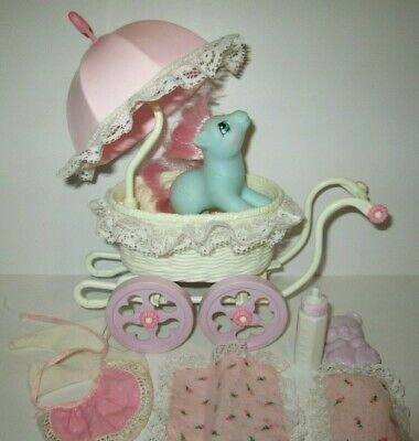 My Little Pony G1 Baby Buggy Carriage W/ Baby Cuddles Set 1985 • 32.18£