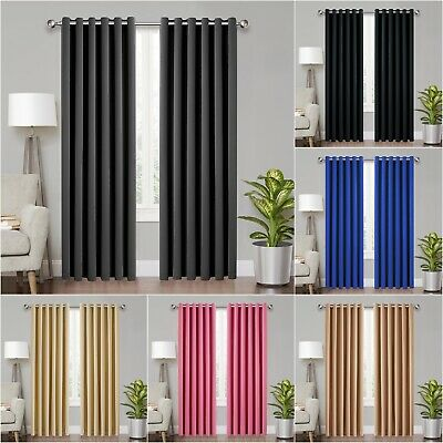 Insulated Thick Thermal Blackout Eyelet Ring Top Ready Made Curtains Pair Panel • 18.99£