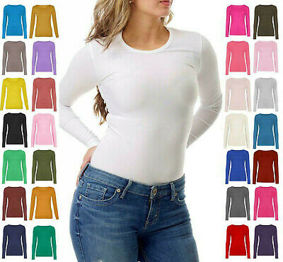Ladies Womens Plain Long Sleeve Crew Neck Casual Stretchy Tee T-Shirt Top New UK • 6.75£