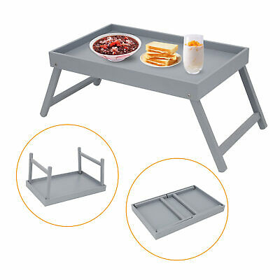 Grey  Wooden Breakfast Serving Lap Tray Over Bed Table With Folding Legs Uk • 14.99£