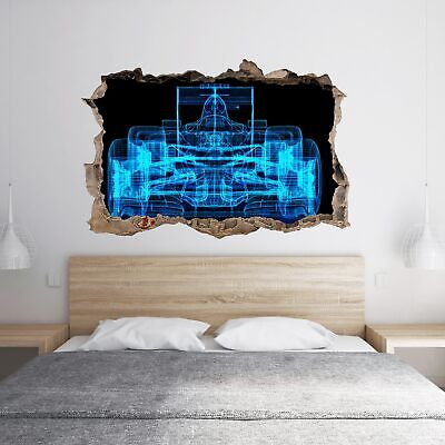 £16.99 • Buy Sports Car Formula F1 3D Hole In The Wall Effect Wall Sticker Decal Mural