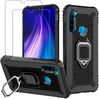 $16.98 • Buy For Xiaomi Redmi Note 8 Case With Screen Protector Tempered Glass Ring Black NEW