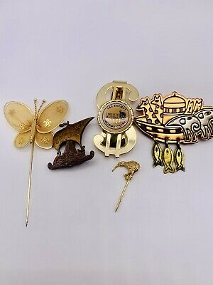 $ CDN1.26 • Buy Lot Of Vintage Costume Jewelry Pins And Brooches And A Money Clip